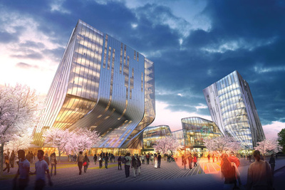 Rendering of a futuristic building in an urban setting in Asia