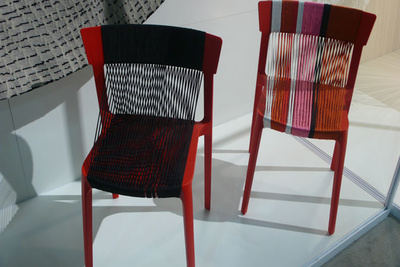 two colorful woven chairs