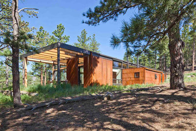 Modern wood home in the woods near Boulder