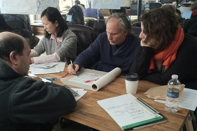 Volunteers at the Sandy Design Help Desk in New York