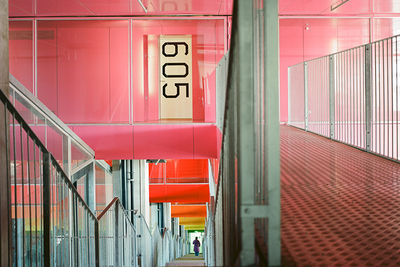 Colorful hallway with rainbow levels