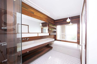 Modern wood-lined bathroom renovation