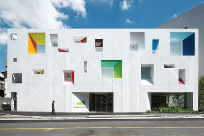 tokyo bank white facade colorful windows