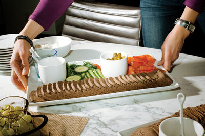 calder residence bread vegetable platter
