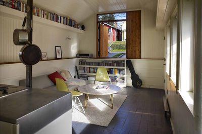 Garage living room after remodel.
