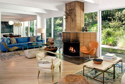 bateman los angeles living room fireplace