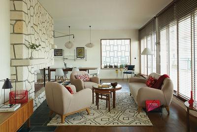 royan treatment living room stone fireplace vintage new furnishings