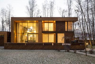 birch tree house glass window exterior