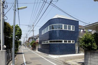 half half house blue tile exterior rec