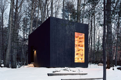 cabin fever studio padron guesthouse new york cedar cladding oak bookshelves