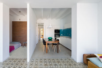 Barcelona apartment dining and living area with floor tile