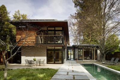 Reclaimed cedar and gray-stucco home outside San Francisco.