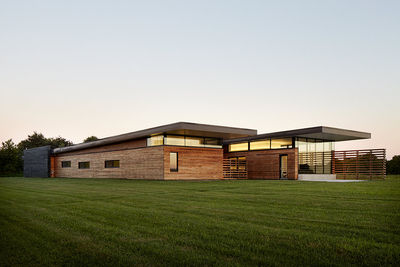 Modern home with a cantilevered roof in the Missouri prairie
