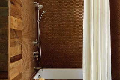copper hue it reclaimed oak concrete floor penny tile design and di