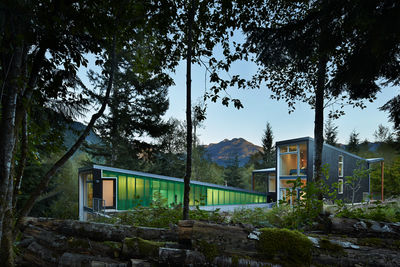 Cedar facade of modern Seattle cabin by David Coleman.