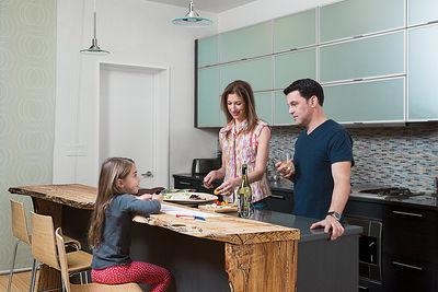 family matters david alan basche alysia reiner harlem renovation kitchen reclaimed maple countertop blu dot barstools