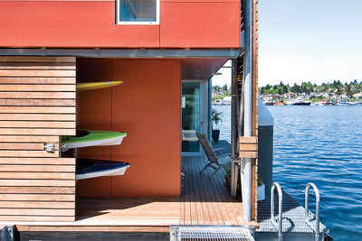 seattles mariners floating house prefab facade exterior fiber cement panels