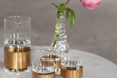 Sophisticated glass and copper water collection