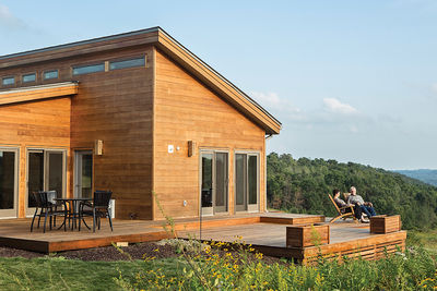 Modular, Prefab home of the grandson of Frank Llloyd Wright with outdoor deck.
