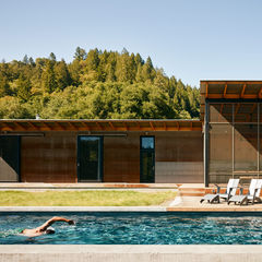 in the swim off the grid campsite healdsburg california swimming pool solar heat lap pool ipe deck loll designs lounge chairs