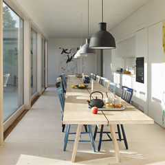 natural instinct swedish family home kitchen table unfold pendants muuto lilla aland chairs stolab