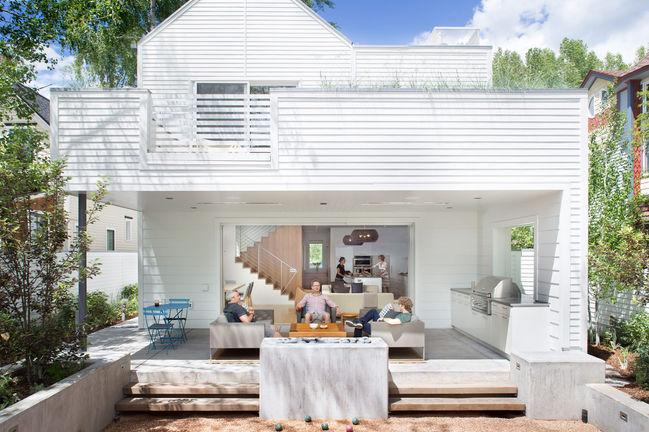green machine smart home aspen colorado facade yard bocci deck patio savant
