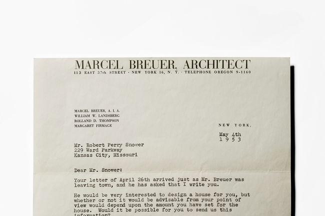 marcel breuer architect letter office kansas city snower house