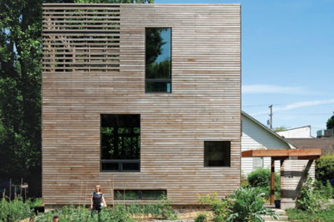 residential urban wooden box harpoon house