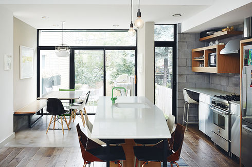 practical magic brooklyn renocation kitchen caesarstone countertop stainless steel ikea cabinetes green vola faucet