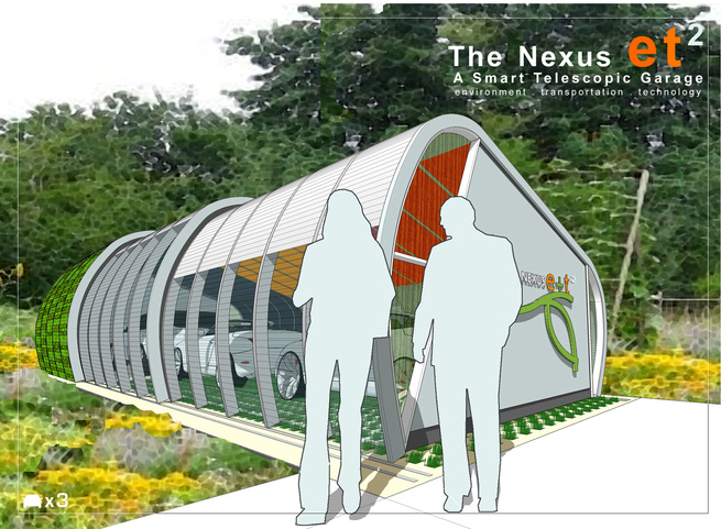<h6>Winner: Nexus et2 by Chunsheh Teo</h6><br><br>The inspiration for the design concept was derived from the notion of transforming the nostalgic iconic form of a hay roll into the Nexus e+t 2 – a smart telescopic garage that merges and links the e (envi