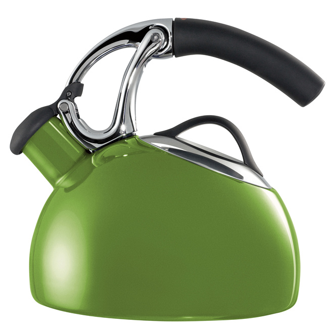 Heat water the old-fashion way with the Uplift Tea Kettle, available now. The two-quart kettle features a nonslip heat-resistant handle, stainless steel finishes, and green or eggplant coloring. The spout has a built-in whistle to alert you when your wate