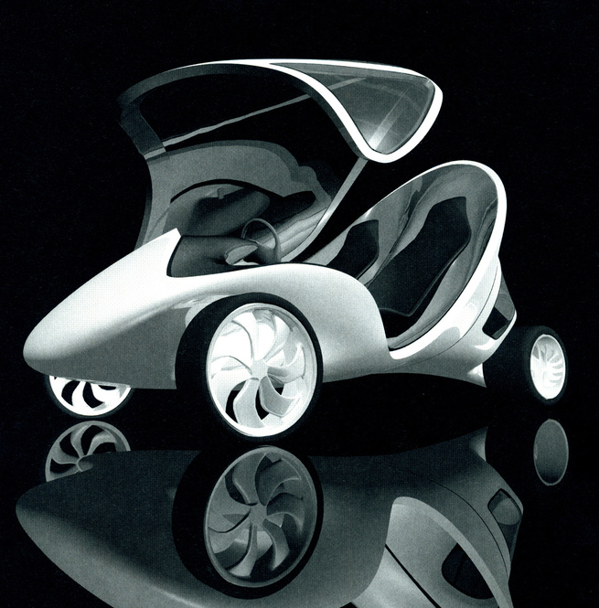 Z-Car I, 2006. Zaha Hadid (Iraqi, b. 1950). Lightweight carbon fiber composite: EPS PU, PU-coating, car paint. 65 3/4 x 72 13/16 x 148 in. Black/white. Made by GTM Cars, Kingswinford, England. Photography courtesy of Zaha Hadid Architects: Project Zaha Ha