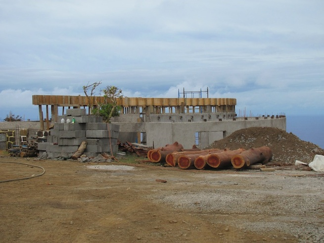Here's a view of the Visitor Center under construction, in October 2010. You can see the shell of the original warden's station. Photo by Eduardo Villafrana/World Monuments Fund.