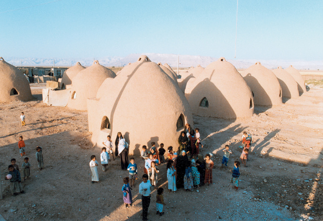 "Nader Khalili's lunar-inspired ""superadobe"" homes are suitable virtually anywhere on earth. In emergency situations, they can be erected in a matter of days."