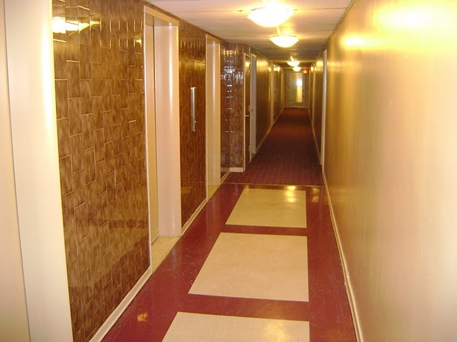 Inside the corridor of Leino's apartment building.