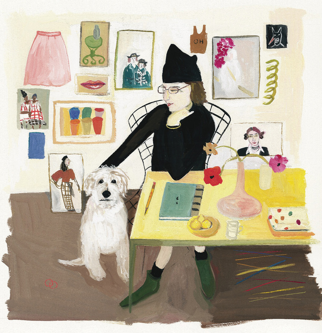 This is one of Kalman's best, and gets to the heart of her work and the worldview it suggests. Entitled, Self Portrait with Pete, it shows her at home with her beloved dog. One of the best bits of the Kalman show at the Contemporary Jewish Museum is a vid
