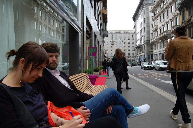 After a rousing breakfast consisting largely of assorted meats and thick, black coffee, we decided to kick off our Milanese adventure by visiting some of the showrooms on Via Durini. Here, Jordan and Sam test out Naoto Fukasawa's new Titikaka bench, just