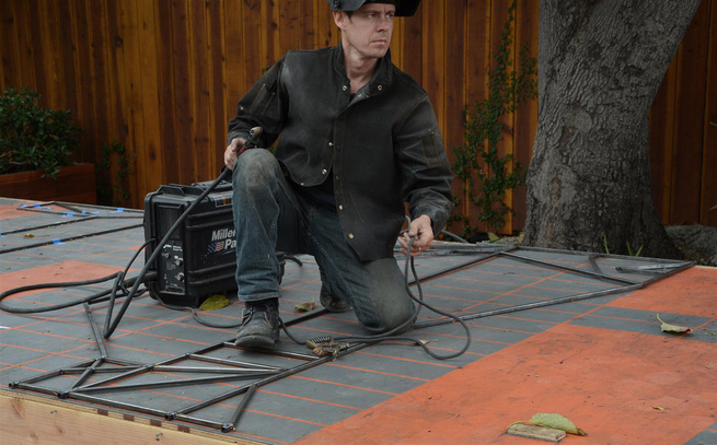 Dwayne Oyler, partner of Oyler Wu Collaborative, welds all the pieces right on the platform.
