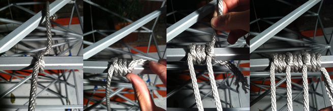 We terminate one piece of rope by wrapping the next piece of rope around the end of it.  Only the very last rope in the sequence will then be crimped with hardware.  This really helps us minimize the amount of hardware we had to use on the project. Photo