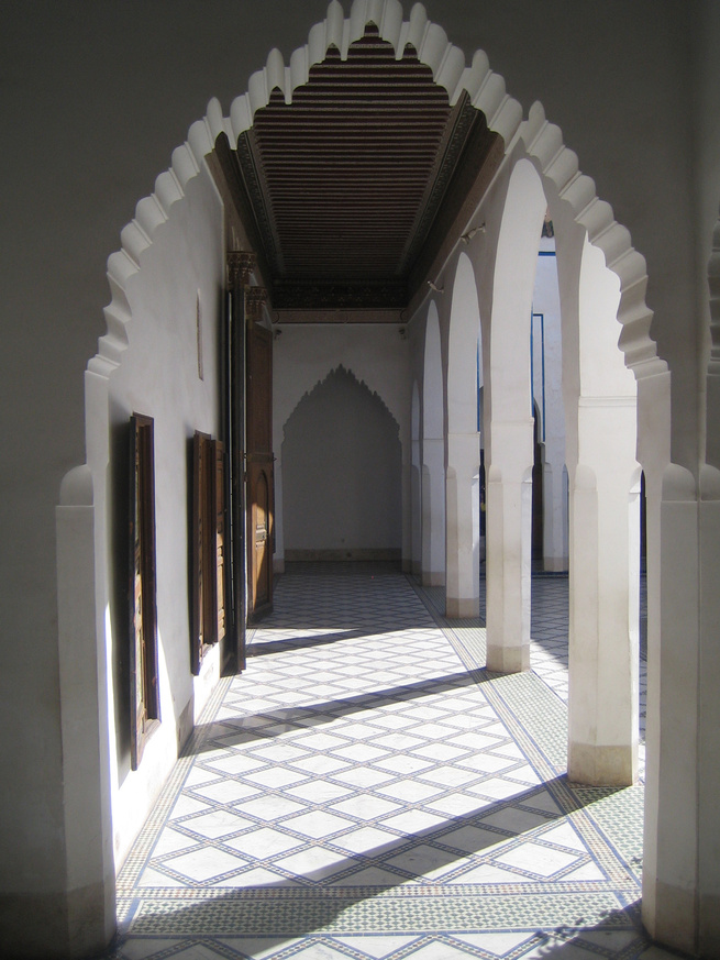 The decorative arts are quite maximalist in Morocco, making this courtyard in the 19th century Bahia Palace all the more of a respite. The geometry remains the same, but here we actually see the form of the arch take prominence. Stunning.