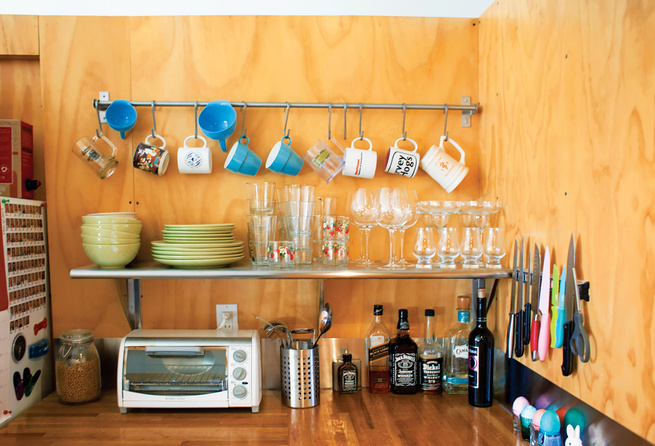 Organized kitchen space with plywood walls