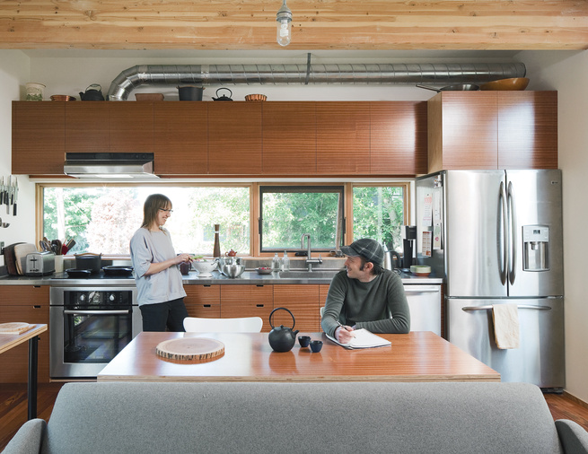 Modern small space wood-and-metal kitchen
