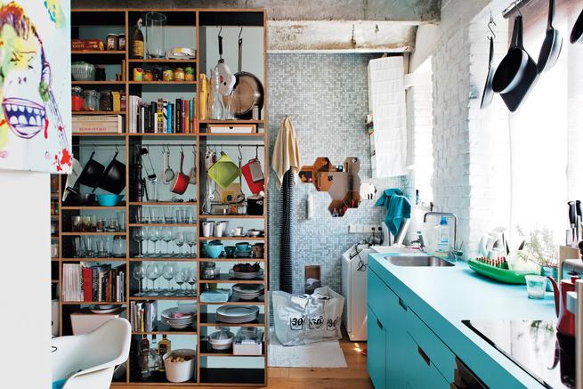 modern kitchen with plywood dinnerware shelves