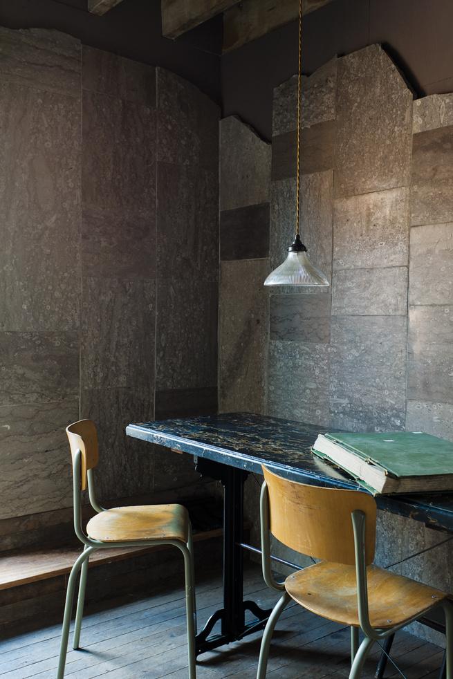 Heathrow limestone wall tile work