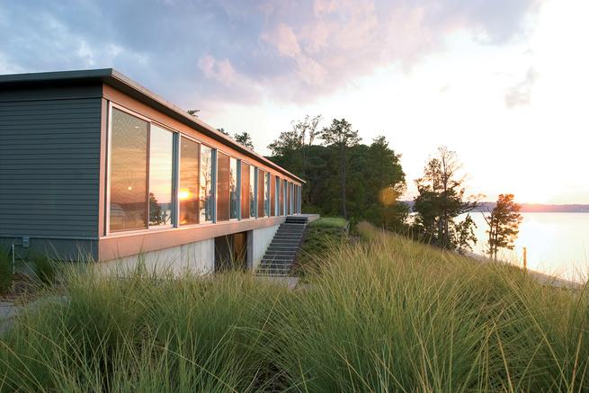 modern River House façade in Virginia
