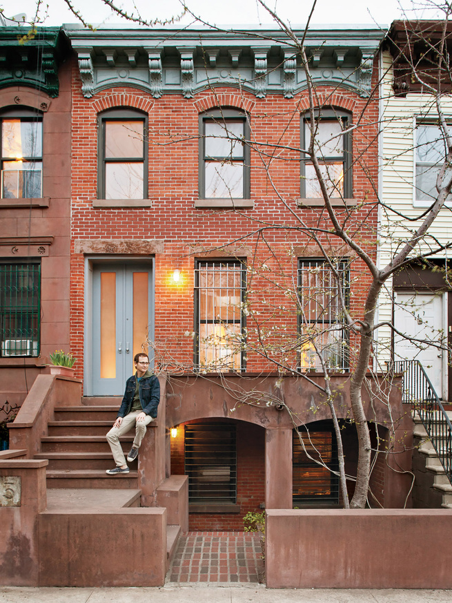Brick house facade in Brooklyn