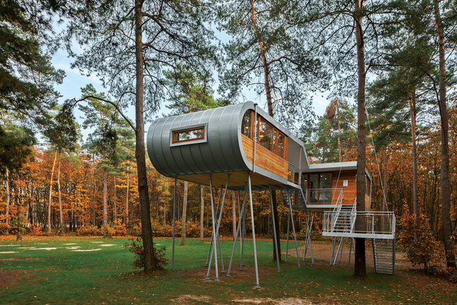 Modern treehouse in Belgium.
