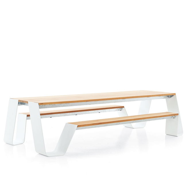 Modern picnic table made from aluminum and wood.
