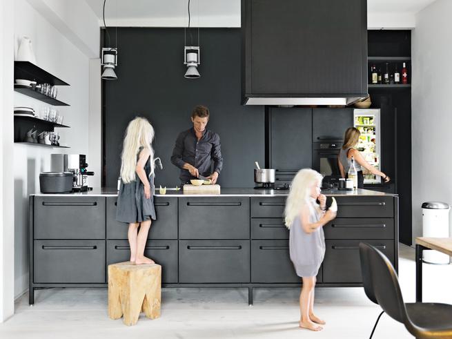 Modern black and white minimalist Danish design kitchen