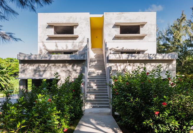 Louis Kahn John Hix concrete brutalism hotel Caribbean modern green architecture solar powered Vieques